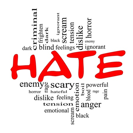 ignorant: Hate Word Cloud Concept in red and black letters with great terms such as dark, ignorant, feelings, dislike and more. Stock Photo