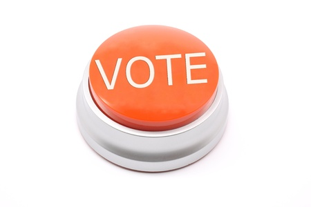Large red VOTE push button on a white background Stock Photo - 15711340