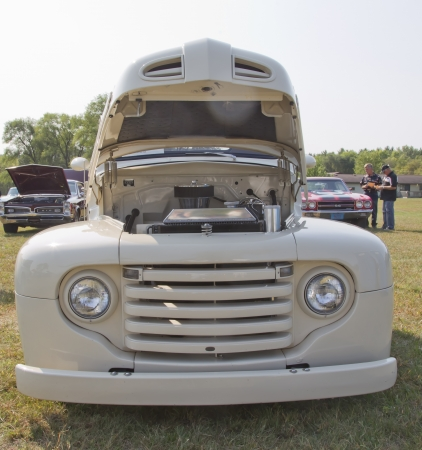 MARION, WI - SEPTEMBER 16: Front of 1950 Off White Ford Pickup at the 3rd Annual Not Just Another Car Show on September 16, 2012 in Marion, Wisconsin.