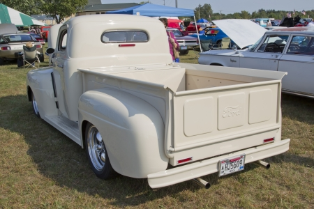 MARION, WI - SEPTEMBER 16: Back of 1950 Off White Ford Pickup at the 3rd Annual Not Just Another Car Show on September 16, 2012 in Marion, Wisconsin.