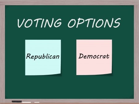 electing: Voting Options on Blackboard with Republican and Democrat choices on blue and pink sticky notes.