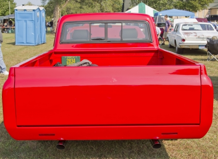 MARION, WI - SEPTEMBER 16: Back of 1970 Red Chevy Truck at the 3rd Annual Not Just Another Car Show on September 16, 2012 in Marion, Wisconsin. Stock Photo - 15723951