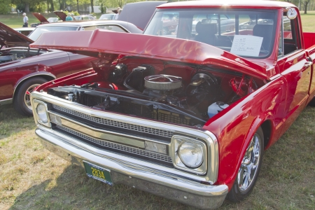 MARION, WI - SEPTEMBER 16: Front of 1970 Red Chevy Truck at the 3rd Annual Not Just Another Car Show on September 16, 2012 in Marion, Wisconsin. Stock Photo - 15723967