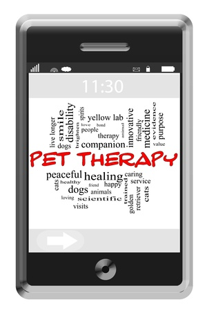 pet therapy: Pet Therapy Word Cloud Concept of Touchscreen Phone with great terms such as dogs, cats, people, loving and more.