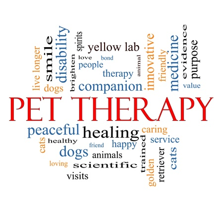 Pet Therapy Word Cloud Concept with great terms such as dog, cat, companion, people, loving and more.