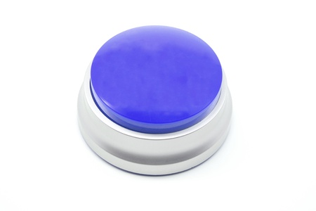 Large Blue push button photographed on a white background photo