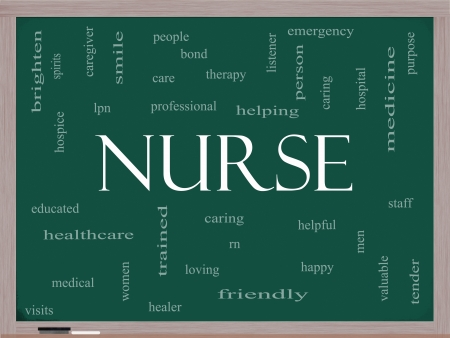 trained nurse: Nurse Word Cloud Concept on a Blackboard with great terms such as rn, care, brighten, caring, helpful and more.