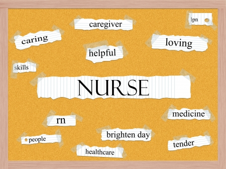 Verpleegster Corkboard Word Concept met grote termen als zorgzame, rn, behulpzaam, gezondheidszorg en nog veel meer.