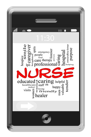 Nusre Word Cloud Concept of Touchscreen Phone with great terms such as caring, rn, healthcare, tender and more. Stock Photo - 16267308