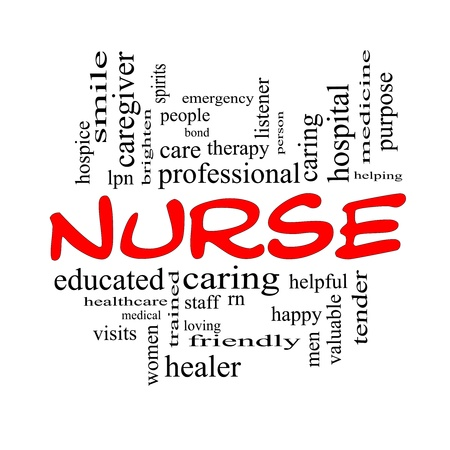Nurse Word Cloud Concept in red and black letters with great terms such as rn, care, brighten, caring, helpful and more. Stock Photo