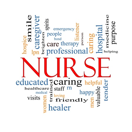 Nurse Word Cloud Concept with great terms such as rn, care, brighten, caring, helpful and more. Stock Photo