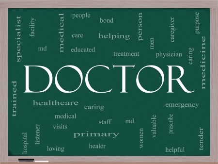 Doctor Word Cloud Concept on a Blackboard with great terms such as physician, specialist, md, treatment and more. photo