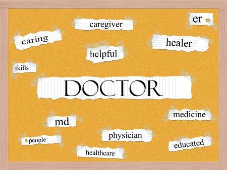 Dokter Corkboard Word Concept met grote termen als zorgzame, genezer, md, arts en nog veel meer.
