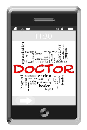 Doctor Word Cloud Concept of Touchscreen Phone with great terms such as healer, md, medicine, physician and more. Stock Photo - 16267307