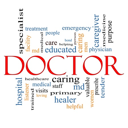 Doctor Word Cloud Concept with great terms such as physician, specialist, md, treatment and more. Stock Photo - 16267314