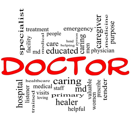 Doctor Word Cloud Concept in red and black letters with great terms such as physician, specialist, md, treatment and more. Stock Photo - 16267312
