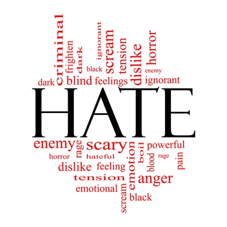 ignorant: Hate Word Cloud Concept in black with red words with great terms such as dark, ignorant, feelings, dislike and more.