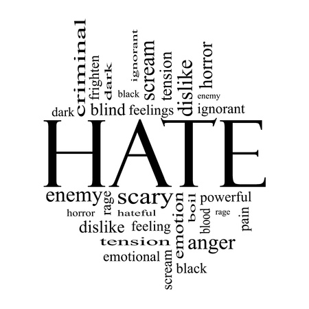 Hate Word Cloud Concept in all black with great terms such as dark, ignorant, feelings, dislike and more. Reklamní fotografie