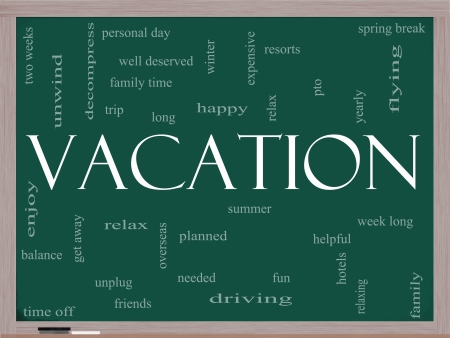 deserved: Vacation Word Cloud Concept on a Blackboard with great terms such as relax, summer, fun, yearly and more.