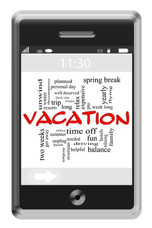 unplug: Vacation Word Cloud Concept of Touchscreen Phone with great terms such as relax, hotel, yearly, summer and more.
