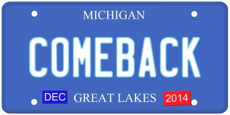 Een imitatie Michigan kenteken met december 2014 stickers en COMEBACK geschreven op het maken van een grote Detroit of Michigan auto concept. Woorden op de bodem Grote Meren.