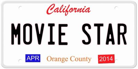 Een imitatie California kenteken met april 2014 stickers en filmster geschreven op het maken van een geweldig concept. Woorden op de bodem Orange County.