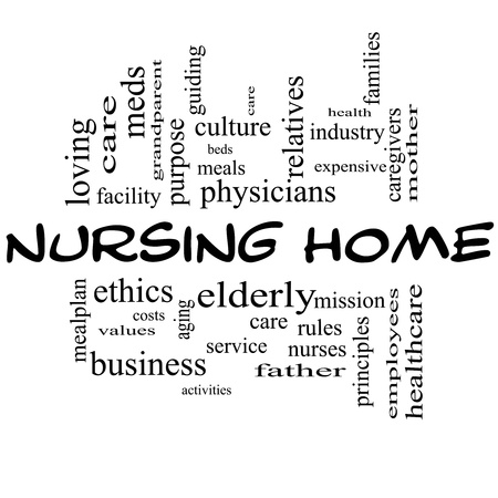 Nursing Home Word Cloud Concept in all Black with great terms such elderly, care, loving, aging as and more. photo