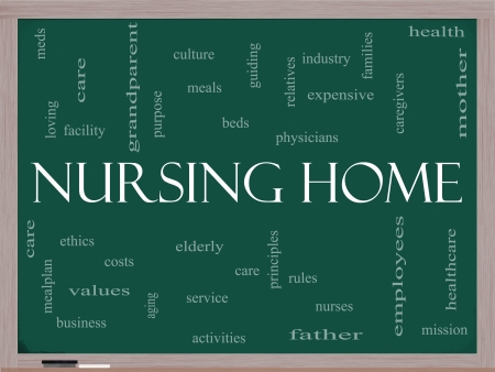 the elderly caregivers: Nursing Home Word Cloud Concept on a Blackboard with great terms such elderly, care, loving, aging as and more. Stock Photo