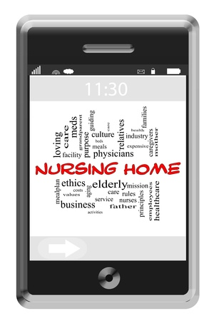 Nursing Home Word Cloud Concept of Touchscreen Phone with great terms such as elderly, care, facilities and more. photo