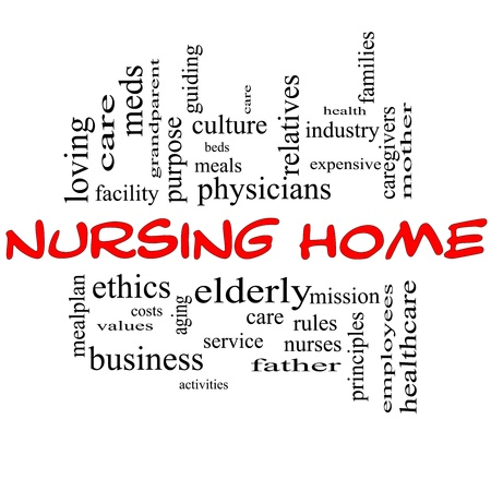 Nursing Home Word Cloud Concept in red and black with great terms such elderly, care, loving, aging as and more. photo