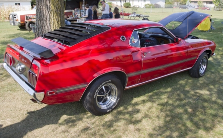 mach 1: MARION, WI - SEPTEMBER 16: 1969 Ford Mustang Mach 1 car at the 3rd Annual Not Just Another Car Show on September 16, 2012 in Marion, Wisconsin.