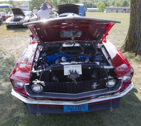 MARION, WI - SEPTEMBER 16: Front of 1969 Ford Mustang Mach 1 car at the 3rd Annual Not Just Another Car Show on September 16, 2012 in Marion, Wisconsin.