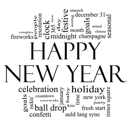 Happy New Year Word Cloud Concept in black and white with great terms such as celebration, holiday, countdown, kiss and more