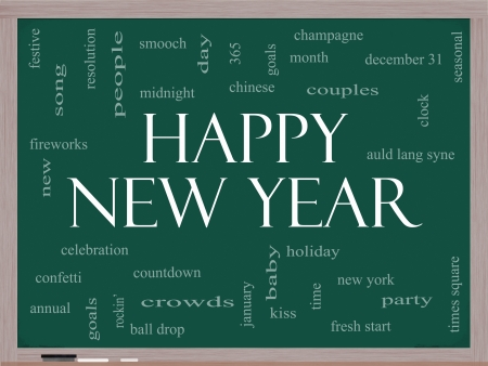 Happy New Year Word Cloud Concept on a Blackboard with great terms such as celebration, holiday, countdown, kiss and more Stock Photo - 16918785