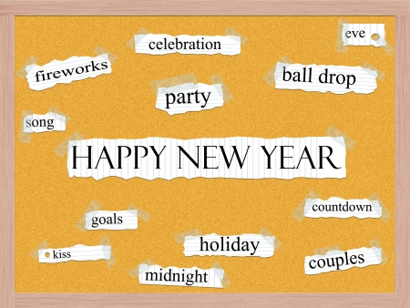 Happy New Year Corkboard Word Concept with great terms such as fireworks, party, ball drop song and more Stock Photo - 16918820
