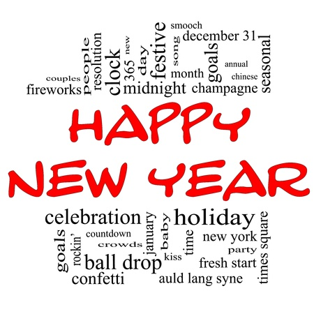 Happy New Year Word Cloud Concept in red and black with great terms such as celebration, holiday, countdown, kiss and more  photo
