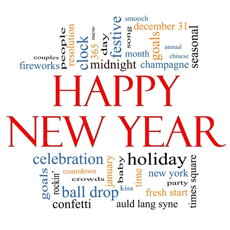 Happy New Year Word Cloud Concept with great terms such as celebration, holiday, countdown, kiss and more  photo