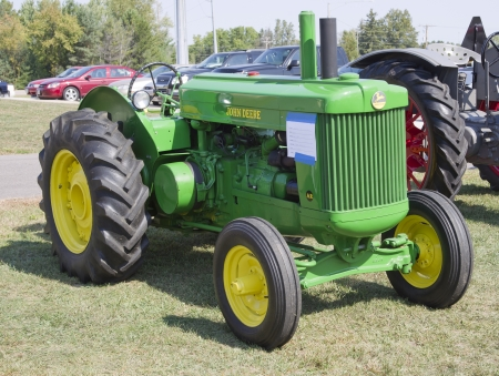deere: MARION, WI - SEPTEMBER 16: 1950 John Deere Tractor at the 3rd Annual Not Just Another Car Show on September 16, 2012 in Marion, Wisconsin.