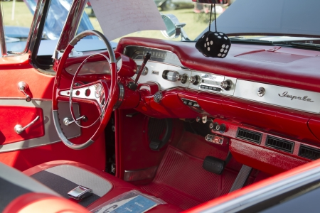 MARION, WI - SEPTEMBER 16: Interior of 1958 black Chevy Impala car at the 3rd Annual Not Just Another Car Show on September 16, 2012 in Marion, Wisconsin. Stock Photo - 17437280