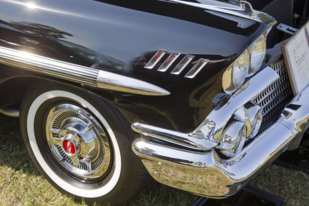 MARION, WI - SEPTEMBER 16: Side Panel of 1958 black Chevy Impala car at the 3rd Annual Not Just Another Car Show on September 16, 2012 in Marion, Wisconsin. Stock Photo - 17437282