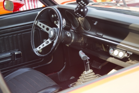 grabber: MARION, WI - SEPTEMBER 16: Interior of Red Ford Maverick Grabber car at the 3rd Annual Not Just Another Car Show on September 16, 2012 in Marion, Wisconsin. Editorial