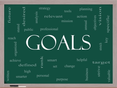 Goals Word Cloud Concept on a Blackboard with great terms such as planning, missions, smart, set, high and more. Stock Photo - 17455771