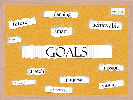 achievable: Goals Corkboard Word Concept with great terms such as high, future, smart, planning, yearly and more.