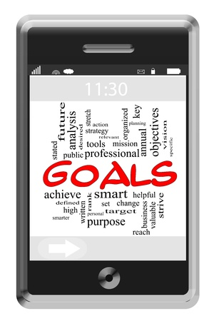 Goals Word Cloud Concept of Touchscreen Phone with great terms such as smart, smarter, set, change, high and more. Stock Photo - 17455764