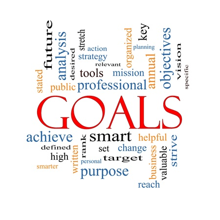 Goals Word Cloud Concept with great terms such as planning, missions, smart, set, high and more. Stock Photo - 17455770