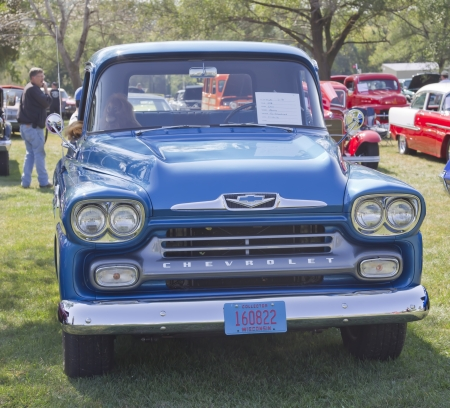 MARION, WI - SEPTEMBER 16: Front of Blue 1958 Chevy Apache truck at the 3rd Annual Not Just Another Car Show on September 16, 2012 in Marion, Wisconsin. Stock Photo - 17523051
