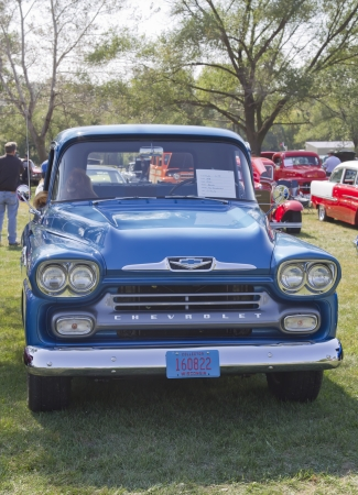 antique car: MARION, WI - SEPTEMBER 16: Blue 1958 Chevy Apache truck at the 3rd Annual Not Just Another Car Show on September 16, 2012 in Marion, Wisconsin. Editorial