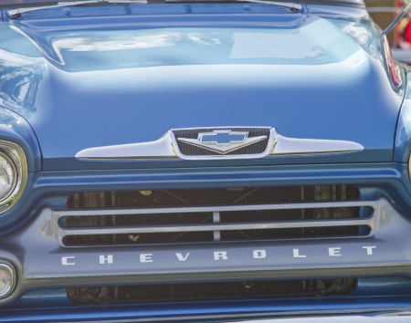 MARION, WI - SEPTEMBER 16: Grill close up of Blue 1958 Chevy Apache truck at the 3rd Annual Not Just Another Car Show on September 16, 2012 in Marion, Wisconsin. Stock Photo - 17523033