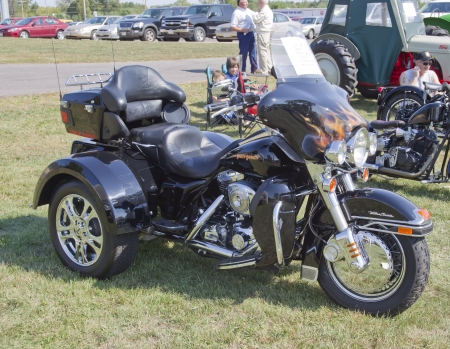 MARION, WI - SEPTEMBER 16: Side of 2004 Harley Davidson Tryke motorcycle at the 3rd Annual Not Just Another Car Show on September 16, 2012 in Marion, Wisconsin.