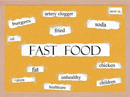 Fast Food Corkboard Word Concept with great terms such as fried, burgers, unhealthy, fat and more.